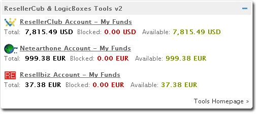 RC & LB Tools v2 funds balance widget