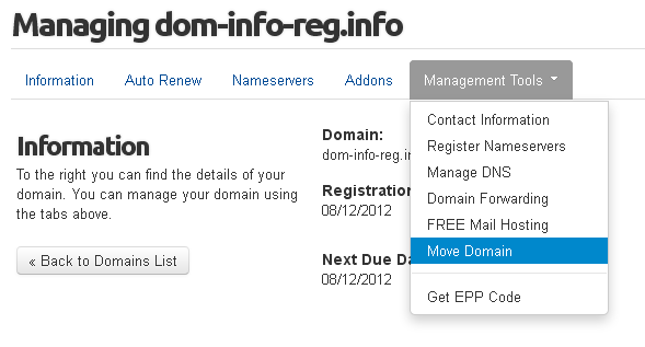 Move Domain Management link