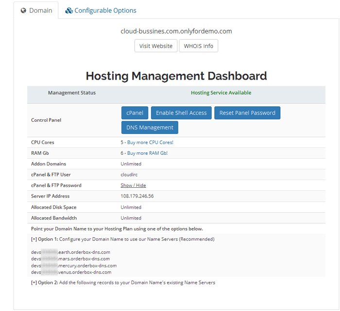 Cloud Hosting Dashboard