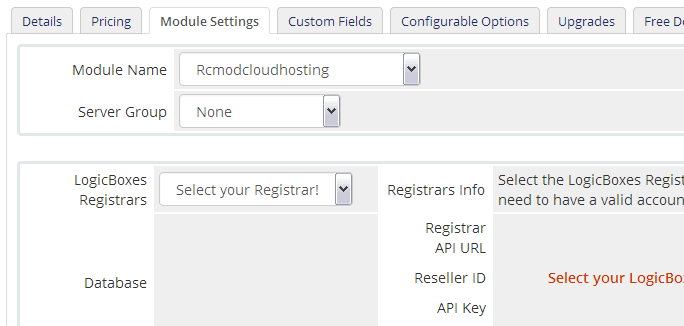 Select LogicBoxes Registrar