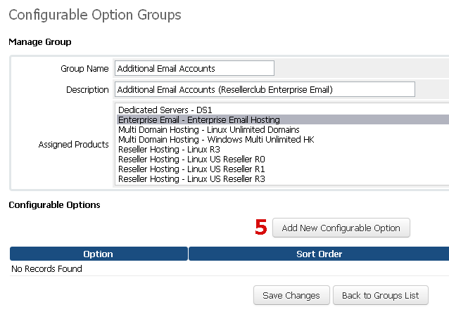 Manage Configurable Options for Email Accounts