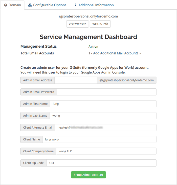Dashboard Google Suite Admin Account