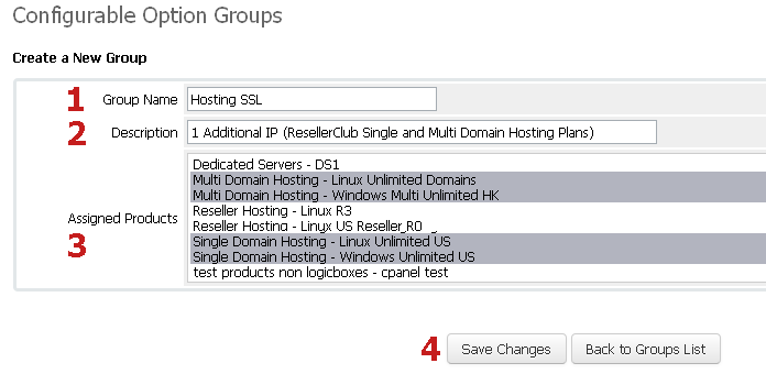 Configurable Options Group for SSL Hosting