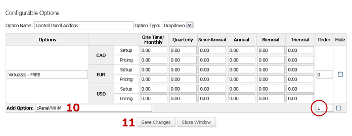 Pricings for Control Panel Addon