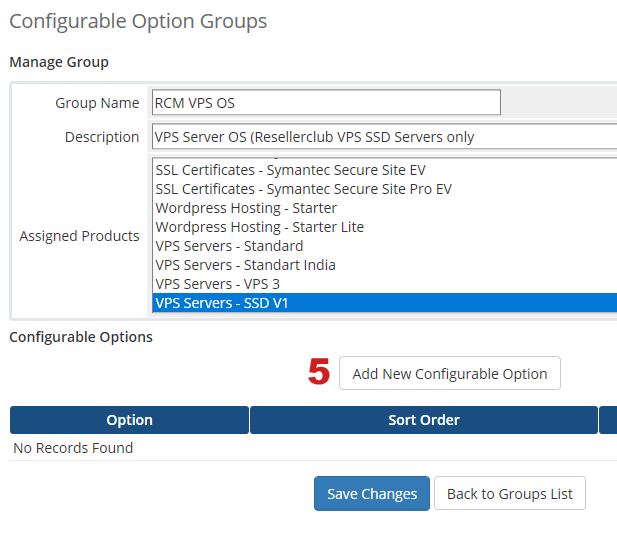 Manage Configurable Options for VPS OS Addon