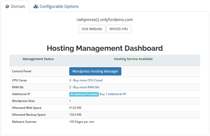Dashboard Wordpress Hosting