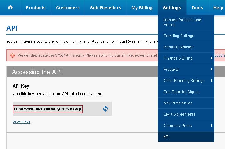 Reseller API Key