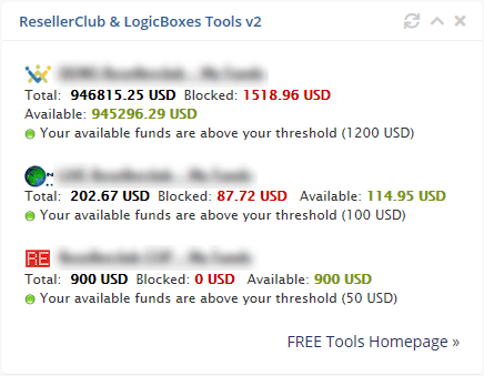 RC & LB Tools funds balance widget