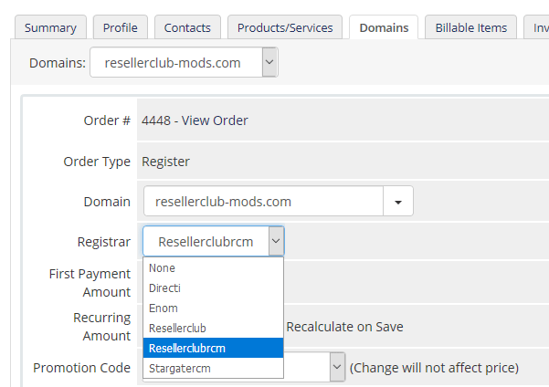 Change Registrar Module for domain