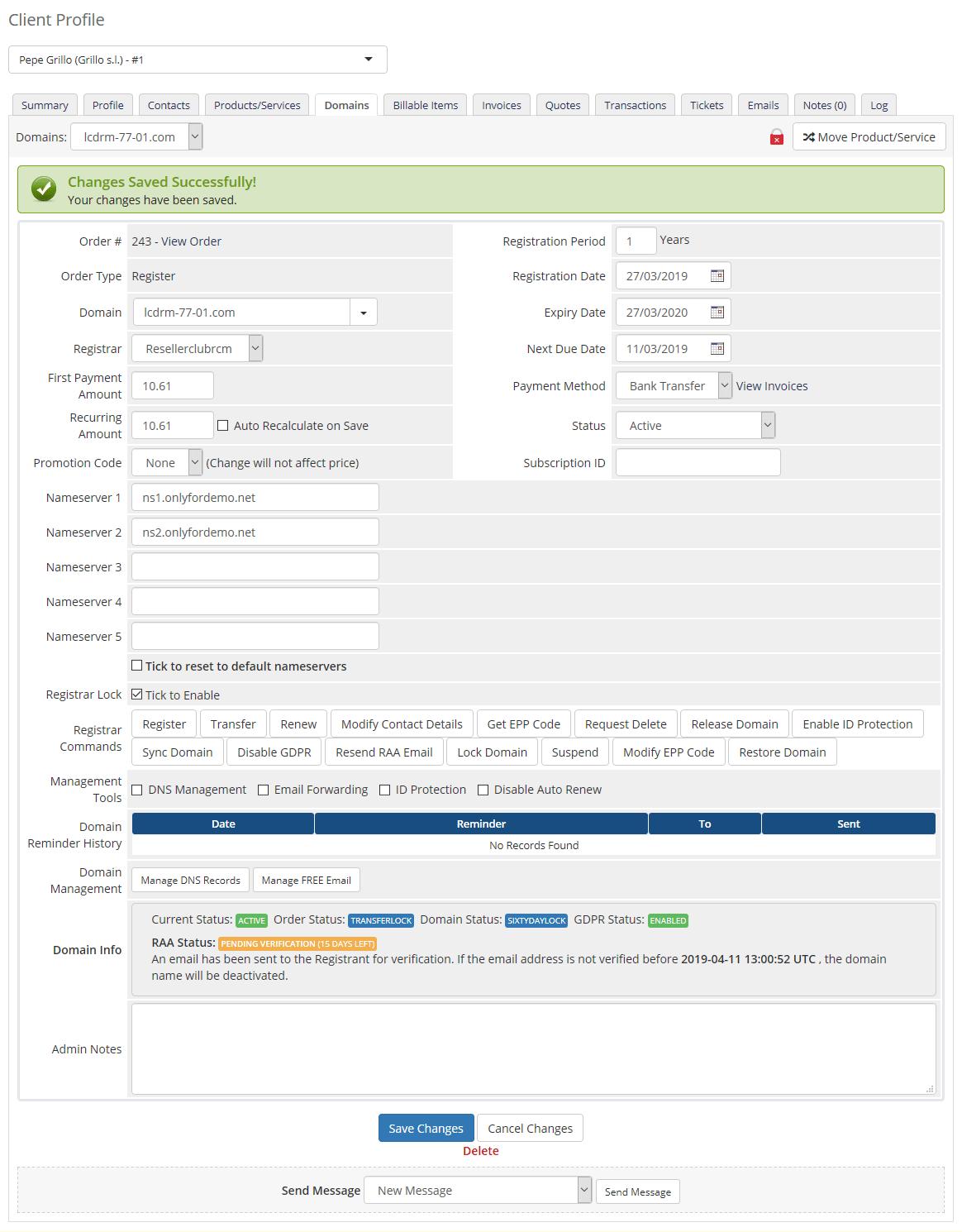 admin domain details