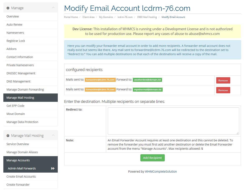 Manage Forwarder Account