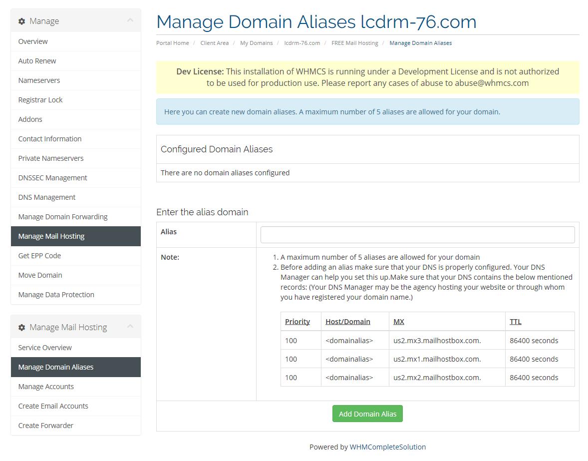 Create Domain Aliases