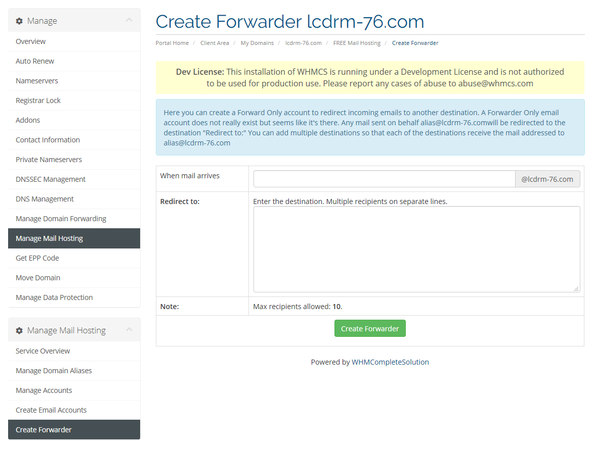 Create Email forwarder