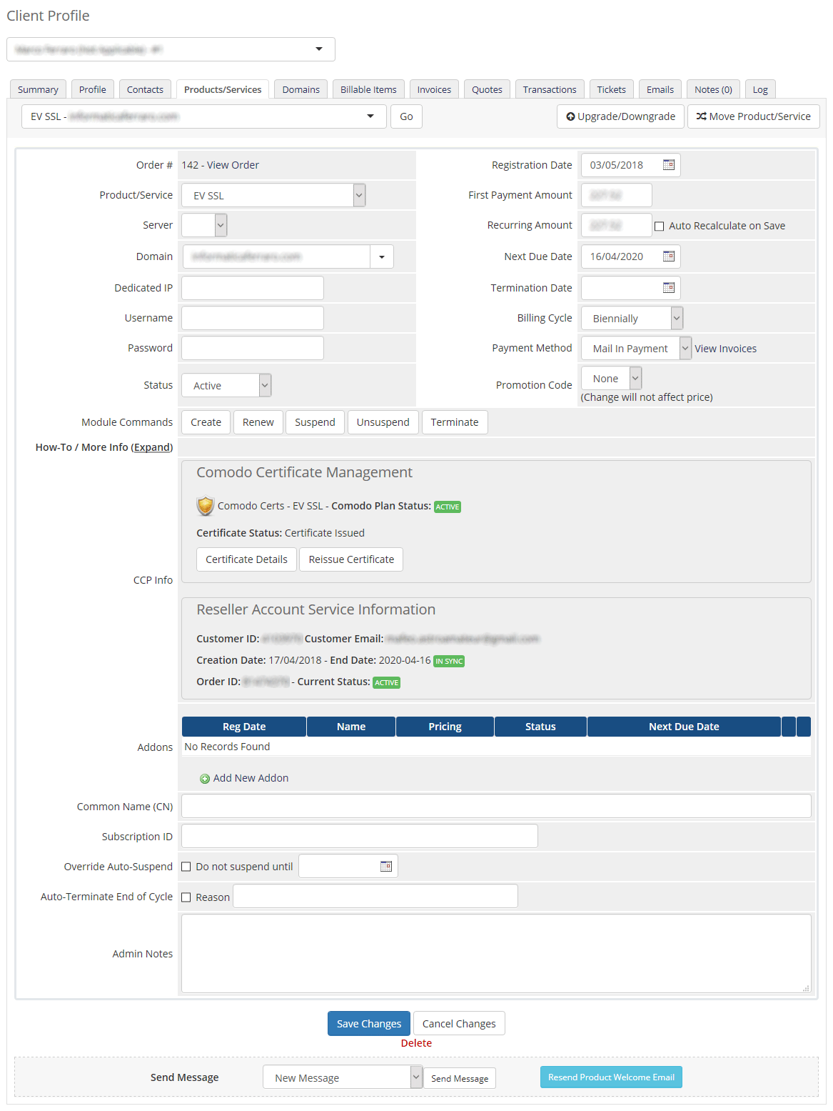 Admin Area Comodo