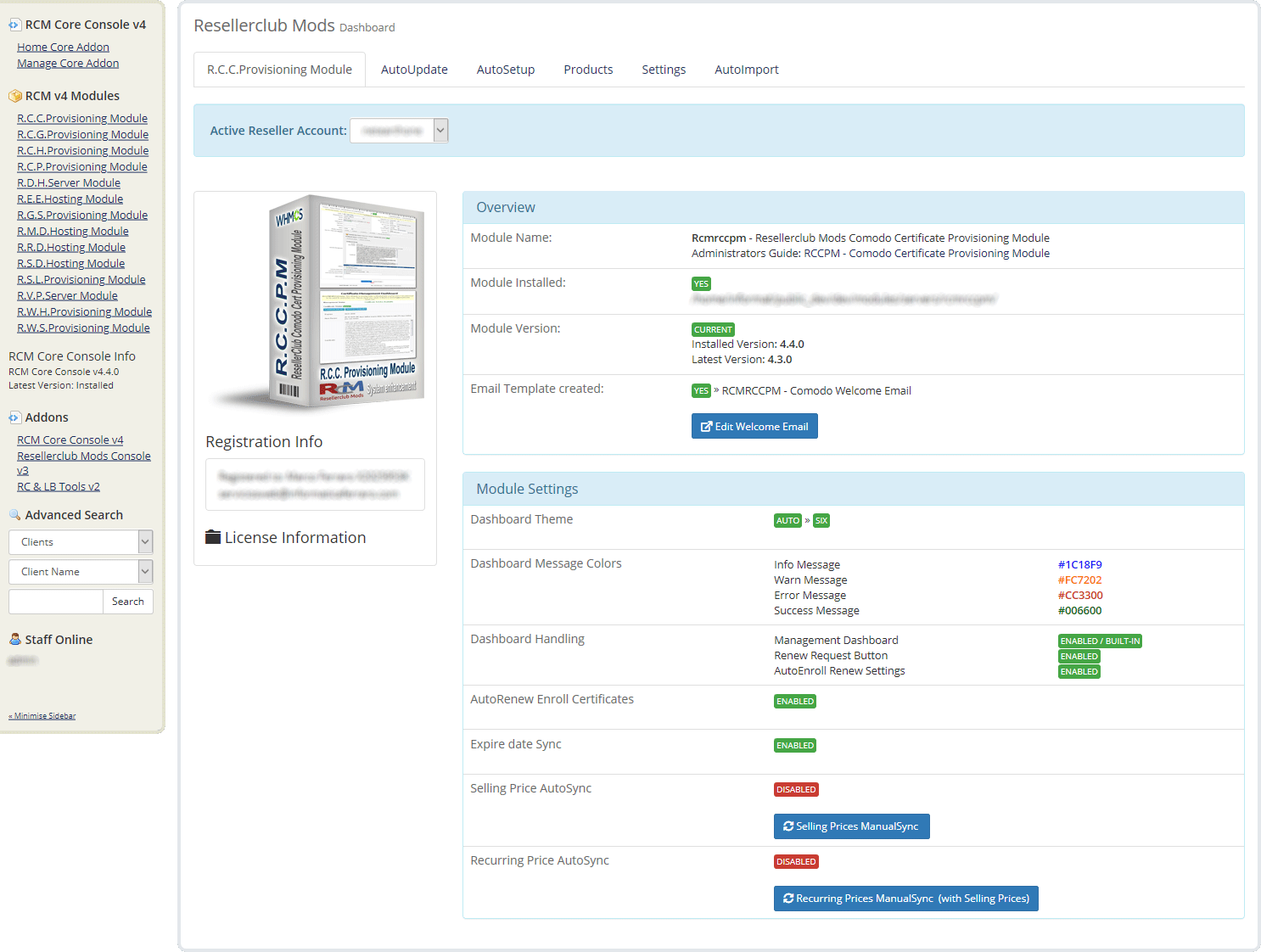 Core Addon Dashboard Comodo Module