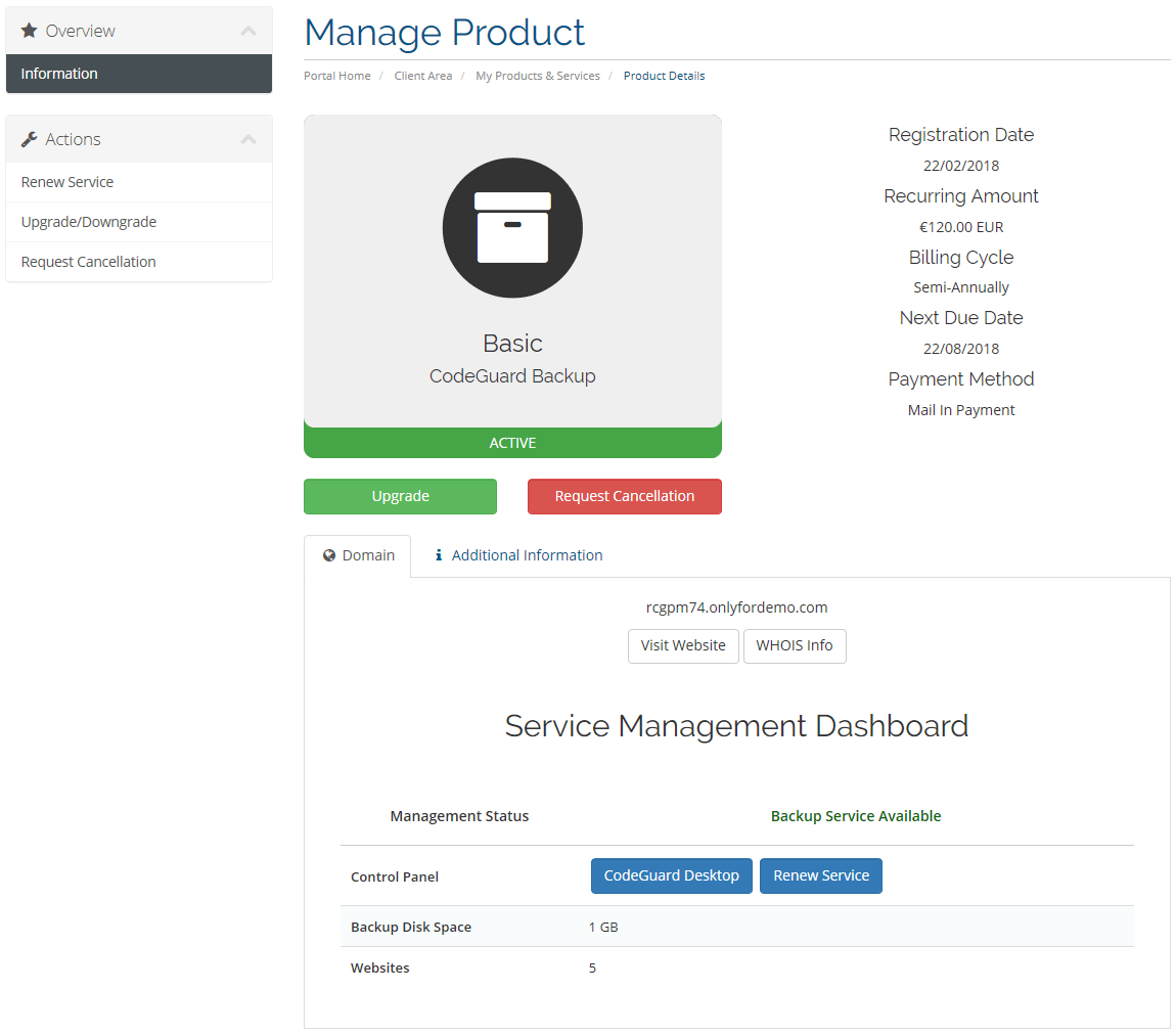 Client Area CodeGuard