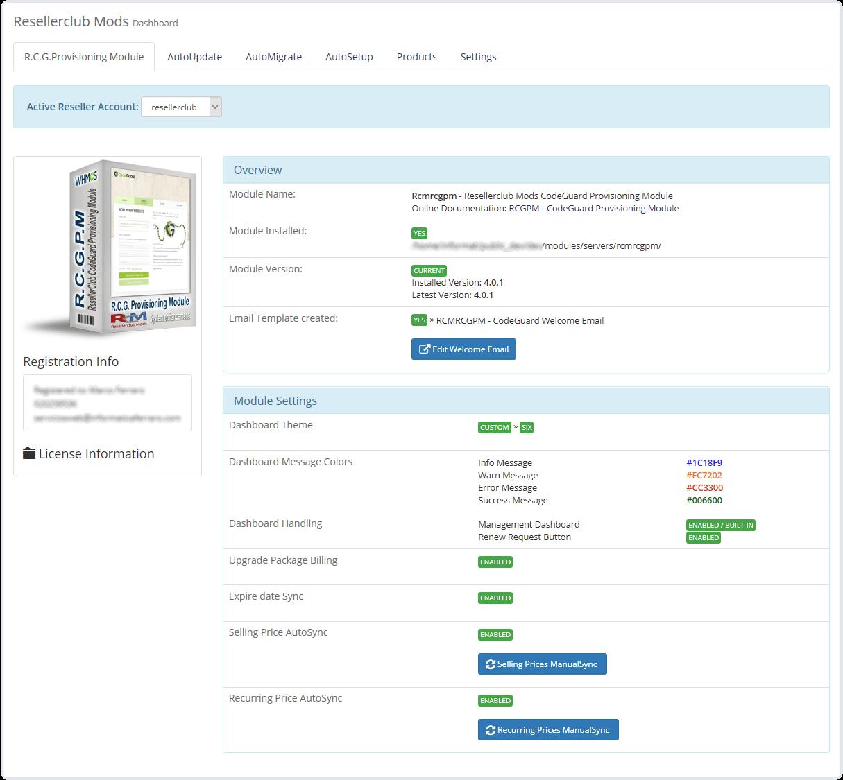 Core Addon Dashboard CodeGuard Module
