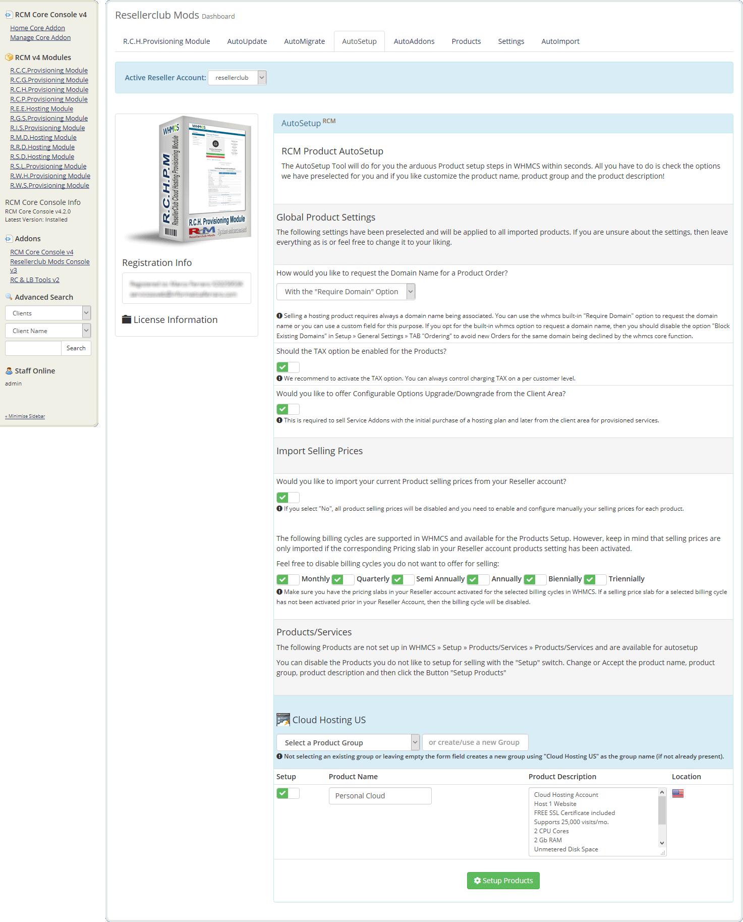 Resellerclub Mods Console AutoSetup