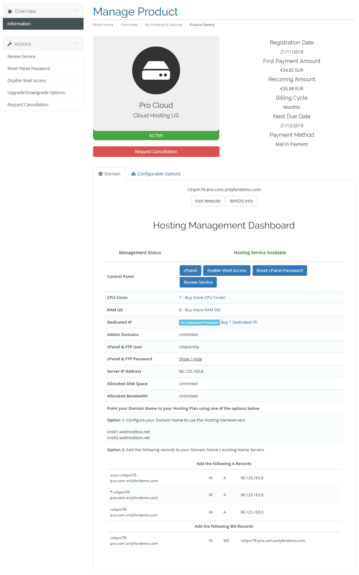 Client Area Cloud Hosting