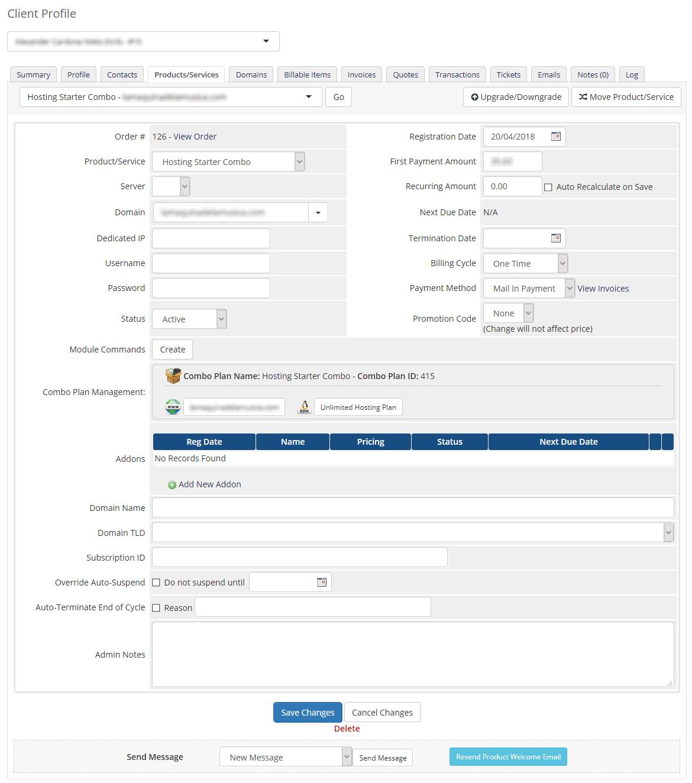 Admin Area Combo Plan
