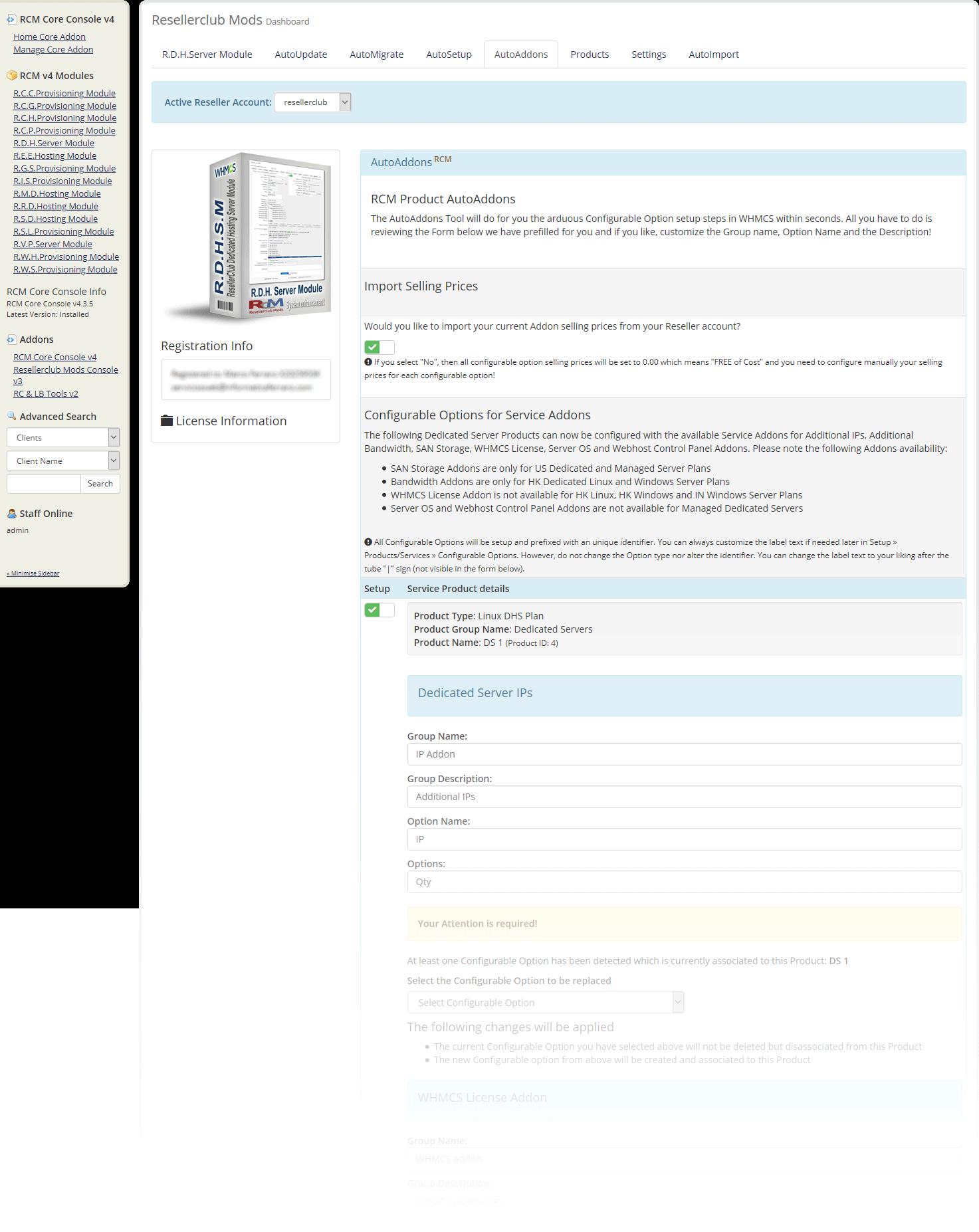 Resellerclub Mods Console AutoAddons