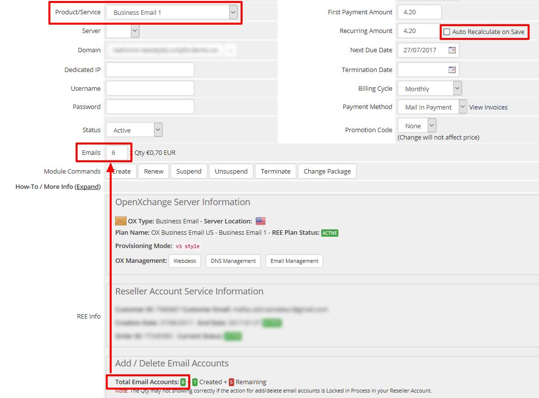 Admin Area Client Product details