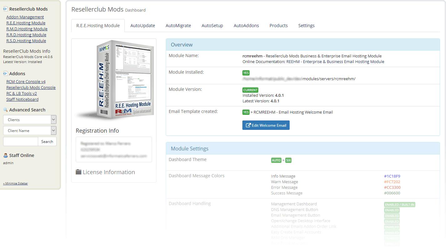 Resellerclub Mods Console Module Dashboard