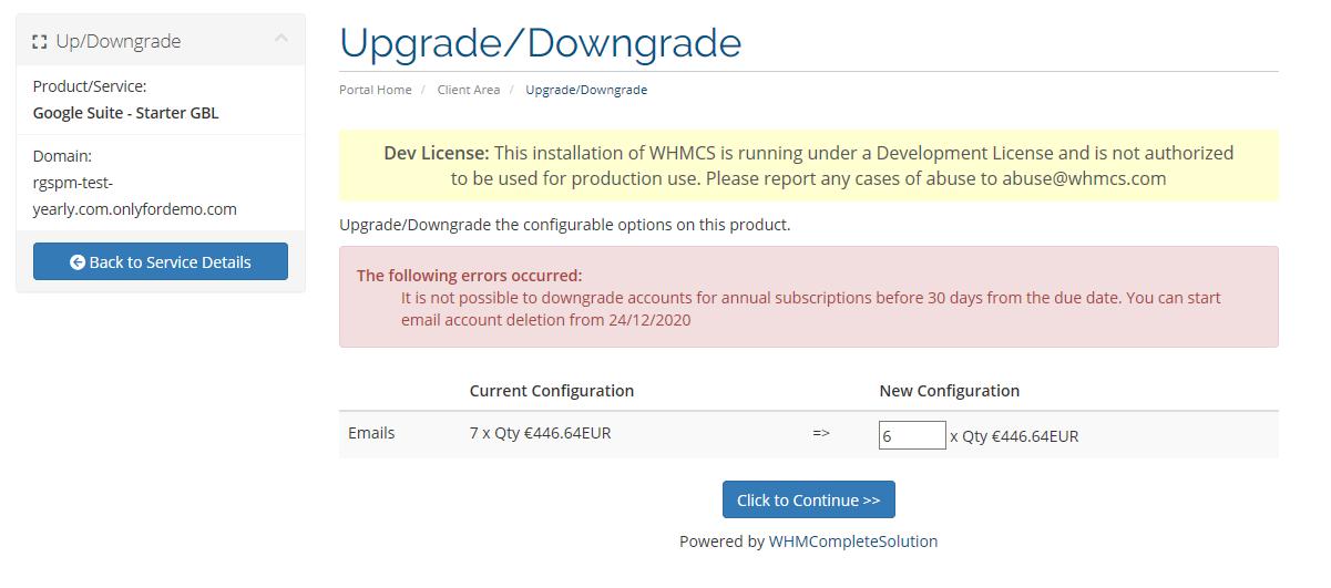 Upgrade/Downgrade Gsuite accounts