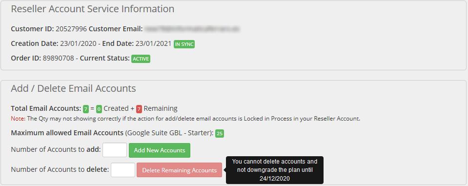 Admin Area G Suite Service Details