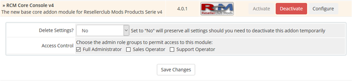 Configure Resellerclub Mods Console Addon v4