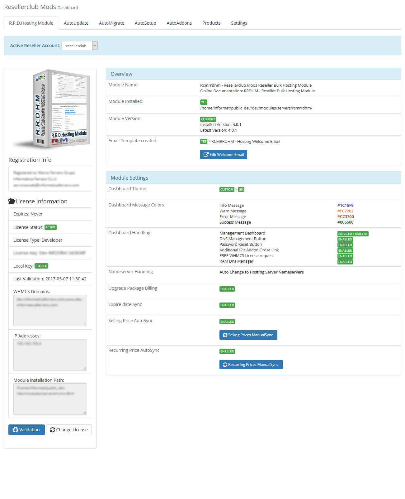 Core Addon Dashboard Reseller Bulk Hosting Module
