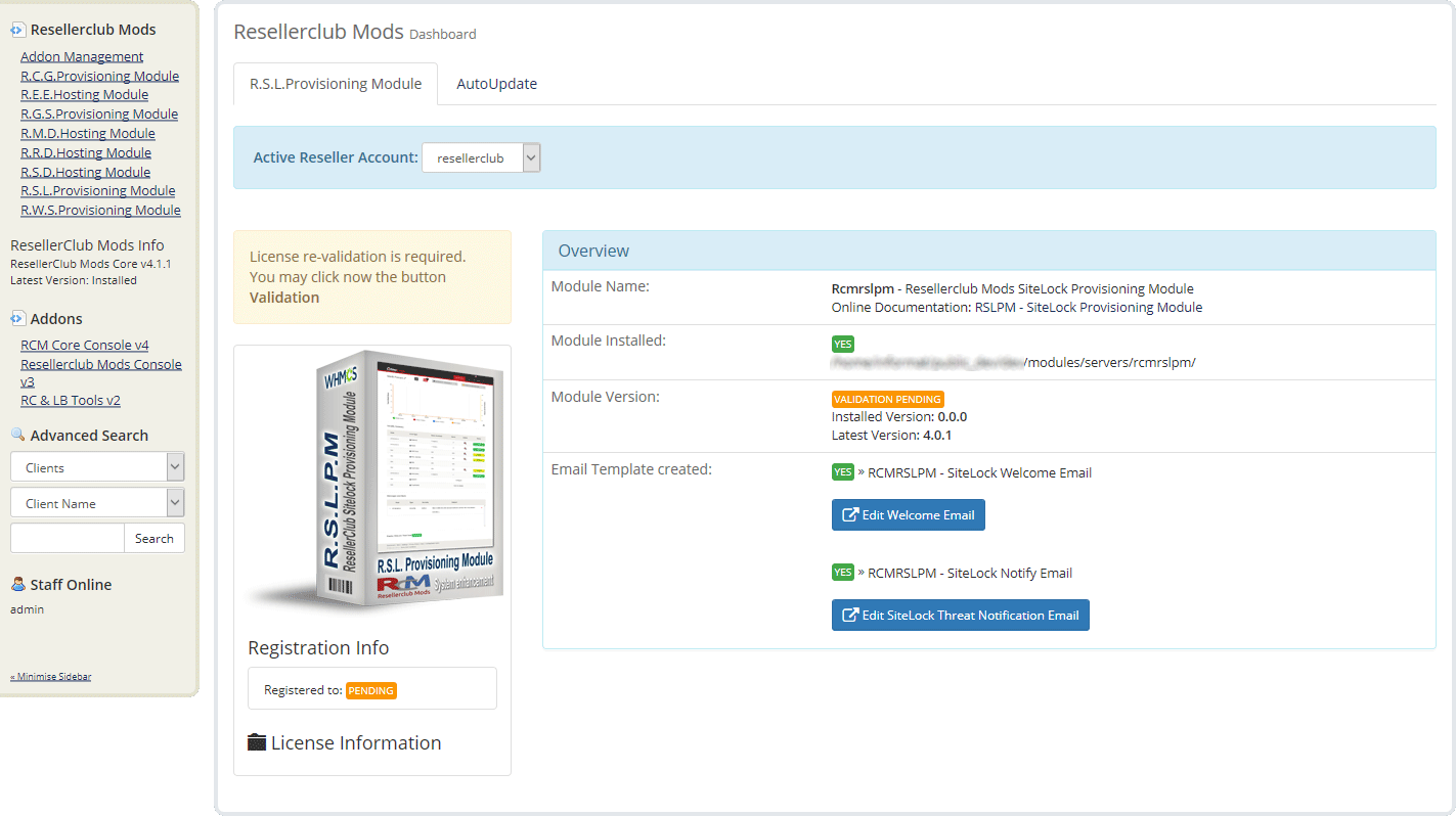 Resellerclub Mods Console Module Manual Install