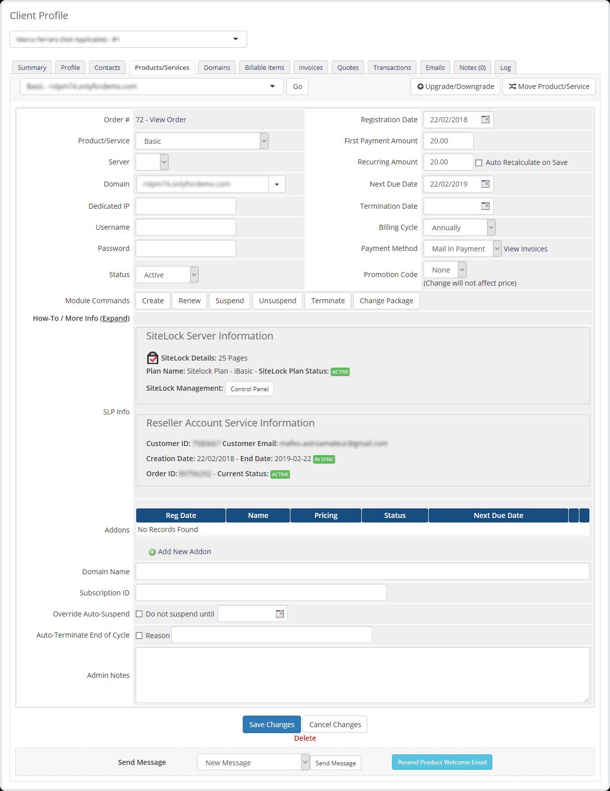 Admin Area SiteLock
