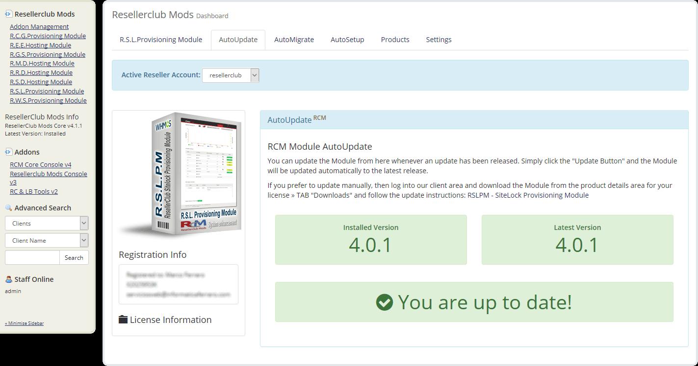 Resellerclub Mods Console Module AutoUpdate
