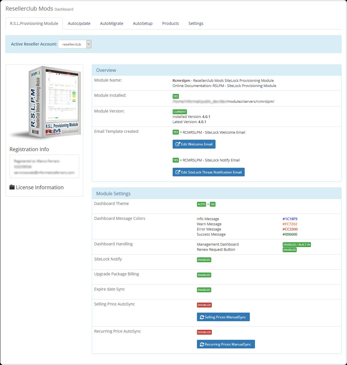 Core Addon Dashboard SiteLock Module