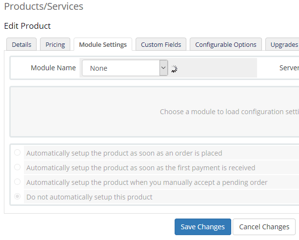 Module Settings Dedicated Server Product setup