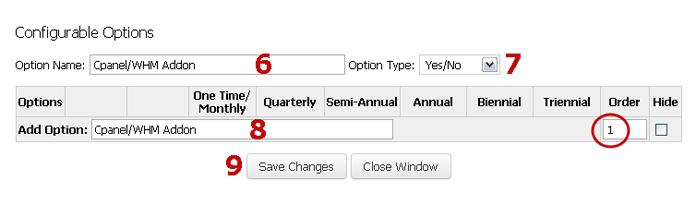 Setup Configurable Options for Control Panel Addon