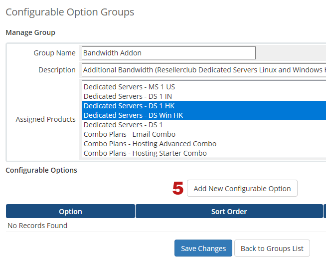 Manage Configurable Options for Bandwidth