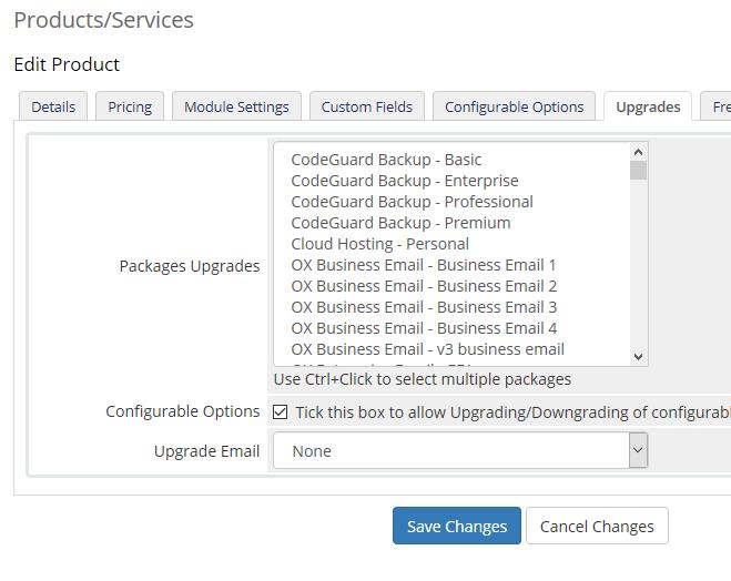 Upgrade Options Server Module