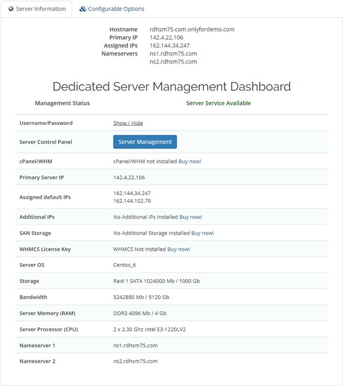 Dedicated Server Dashboard