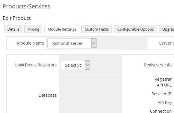 Select LogicBoxes Registrar