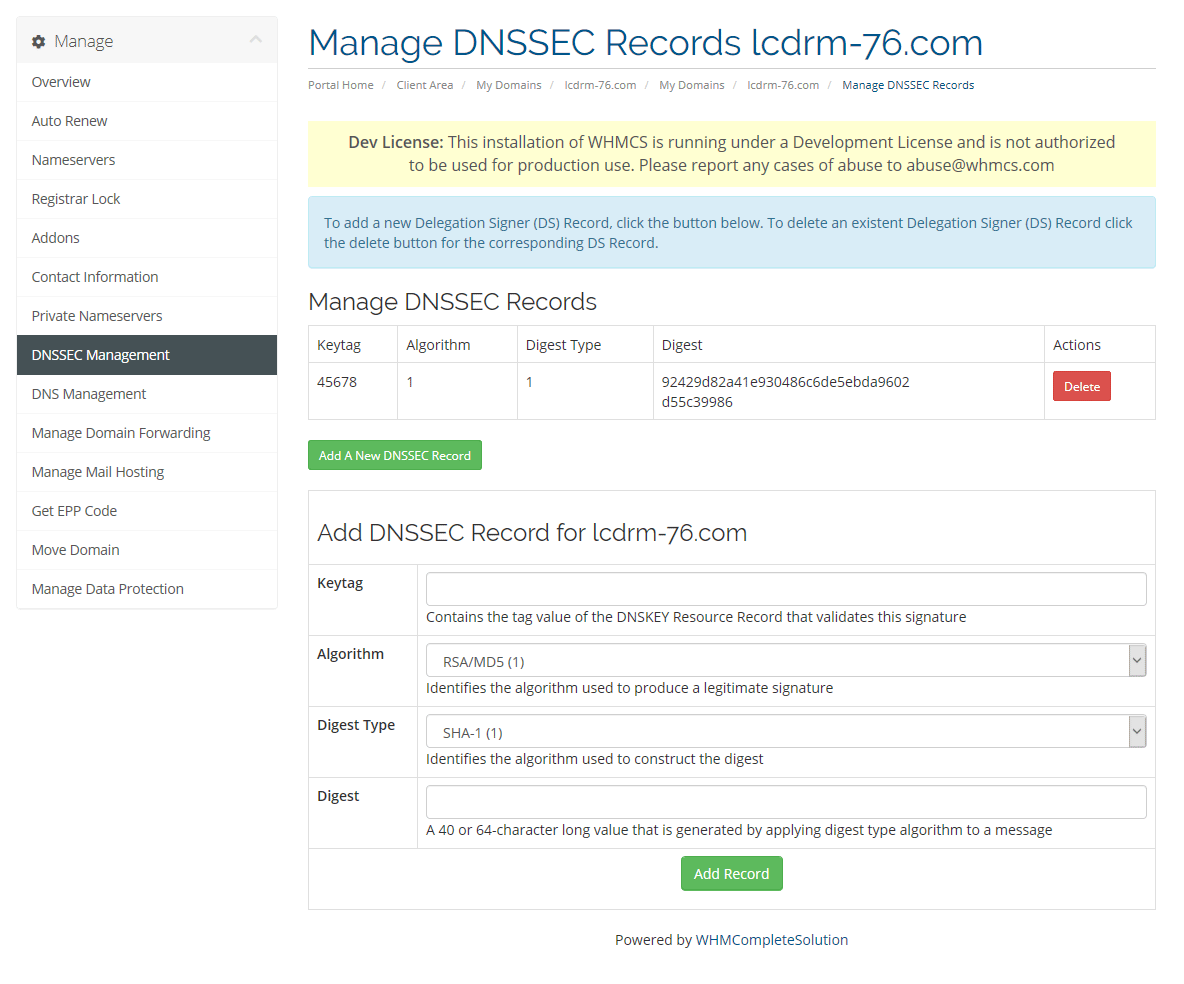 Manage DNSSEC Records