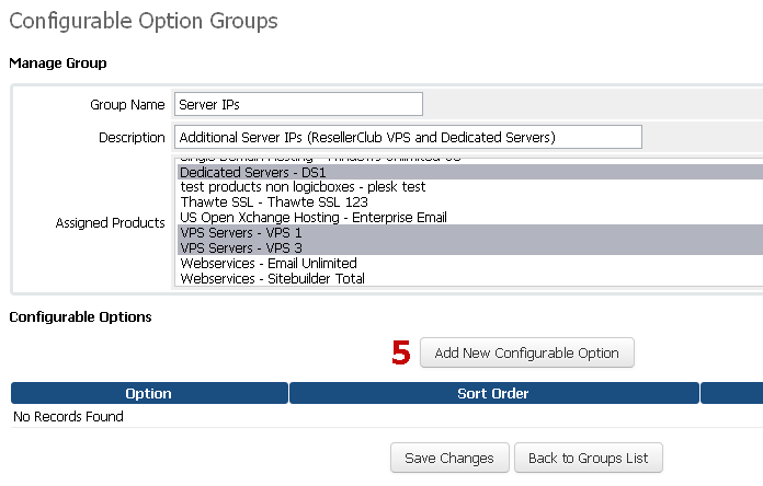 Manage Configurable Options for Additional IP's