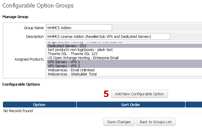 Manage Configurable Options for WHMCS Addon