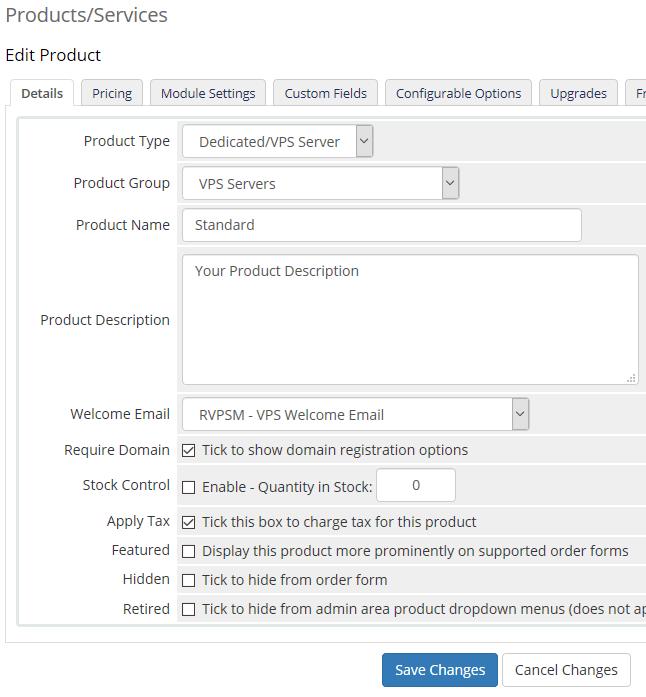 Details VPS Product setup