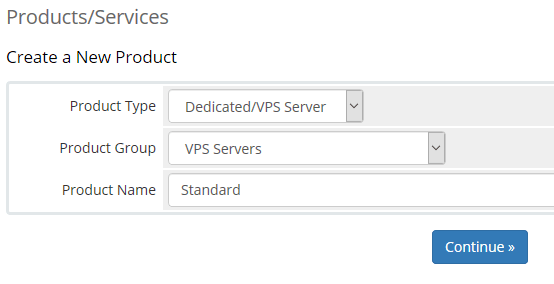 VPS Product setup