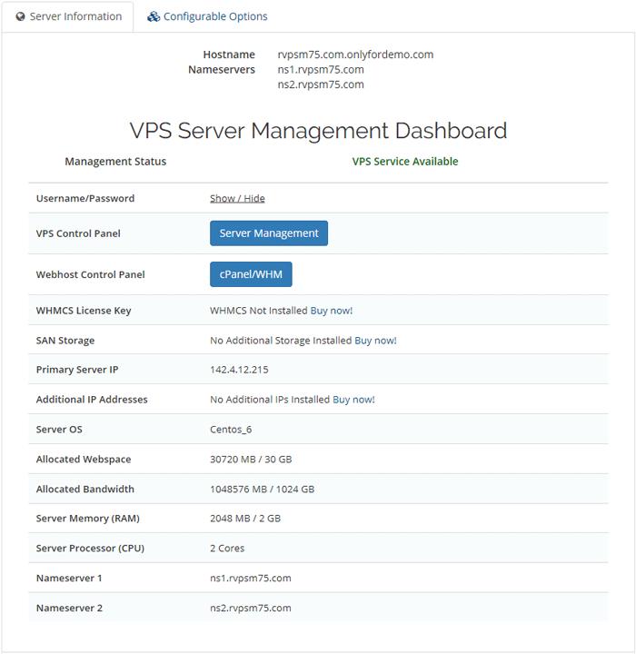 VPS Server Dashboard